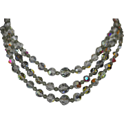 Vintage Smokey Grey Aurora Borealis Highly Faceted Triple Strand Necklace