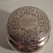 Sterling Silver Powder Box With Sterling Puff
