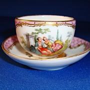 Dresden Miniature Cup and Saucer, Helena Wolfsohn