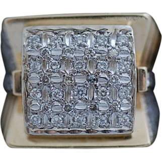 Huge Gent's 14K 1.29 Carat Yellow Gold Diamond Ring