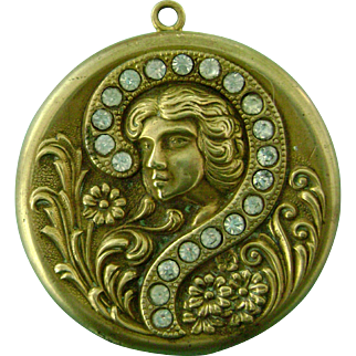 Antique Vintage Art Nouveau Locket Pendant for Necklace