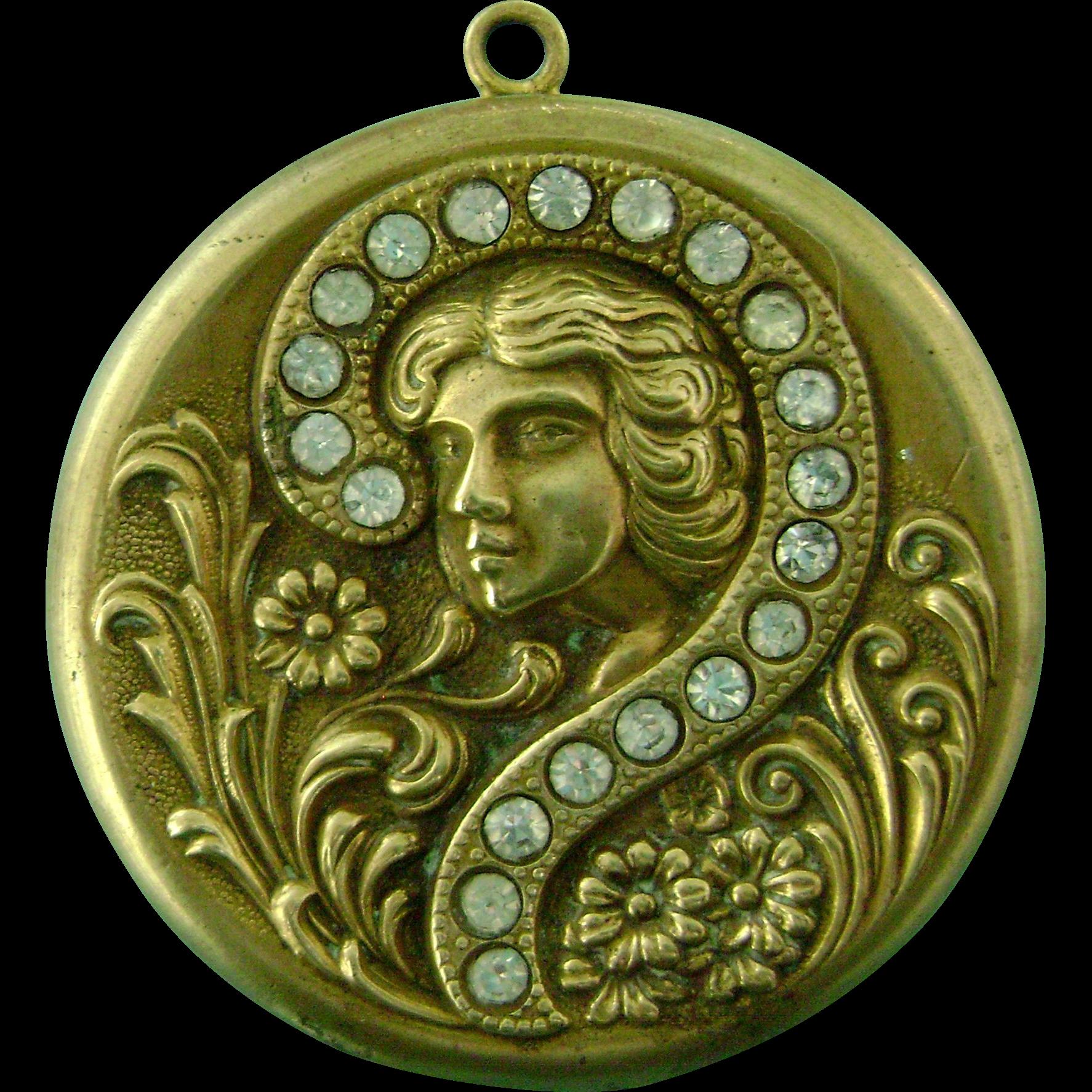 Antique Vintage Art Nouveau Locket Pendant for Necklace