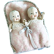 Vintage Pair of Bisque Baby Dolls in Flannel Pouch Kewpie-like Dollhouse size