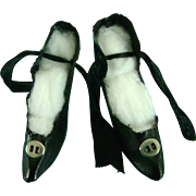 Antique Vintage Black Oilcloth Boudoir Doll Shoes with Wooden Heels
