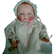 "Vintage Antique Bisque Head Celluloid Arms 12"" Bye-Lo Baby Doll in Clothes"