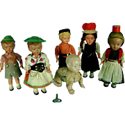 Vintage Group of German Celluloid Wind-up Dolls Germany
