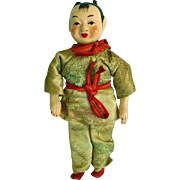 Vintage Antique Chinese Paper Papier Mache & Cloth Doll China in Silk Clothes - Red Tag Sale Item