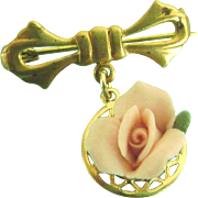 Vintage Doll Jewelry Porcelain Rose Fob Brooch for Madame Alexander Cissy