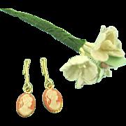 Vintage Doll Jewelry Cameo Earrings Madame Alexander Cissy Elise Miss Revlon