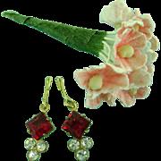 Vintage Rhinestone & Ruby Doll Jewelry Earrings & Flowers for Madame Alexander Cissy Miss Revlon Dollikins