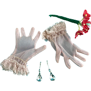 Vintage Orig Madame Alexander Cissy Doll Gloves with Rhinestone Jewelry Earrings
