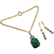 Vintage Doll Jewelry Necklace Earrings Jade & Rhinestone Madame Alexander Cissy