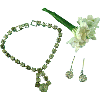Vintage Doll Rhinestone Jewelry Necklace & Earrings for Madame Alexander Cissy
