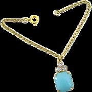 Vintage Doll Jewelry Necklace Turquoise Rhinestone Madame Alexander Cissy Revlon