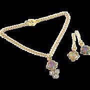 Vintage Doll Jewelry Necklace Earrings Opal & Rhinestone Madame Alexander Cissy
