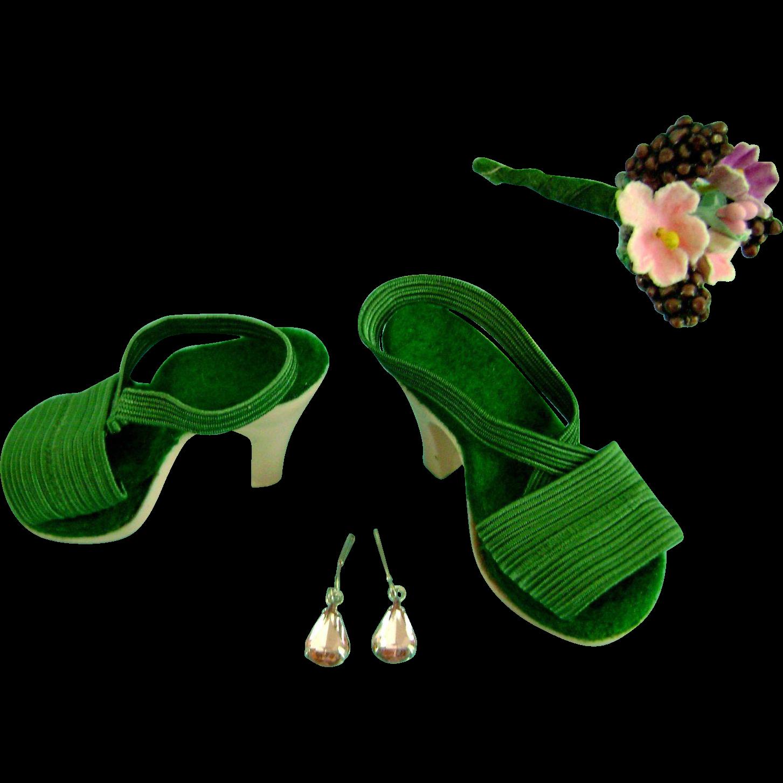 Vintage Orig NMIB Madame Alexander Cissy Doll Shoes Portrait w/ Jewelry, Flowers