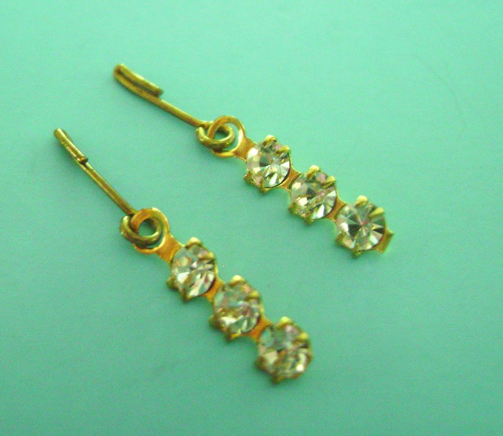Vintage Doll Jewelry Rhinestone Earrings Madame Alexander Cissy, Elise, Miss Revlon