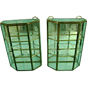 Antique Vintage Etched Glass Display Curio Cabinet Pair for Miniatures Figurine