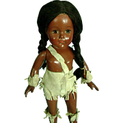 Vintage 1930 Effanbee Anne Shirley Composition Doll Native American Indian Black - Red Tag Sale Item