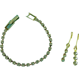 Vintage Doll Rhinestone Jewelry Necklace & Earrings for Madame Alexander Elise