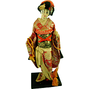 Vintage Japanese Geisha Doll in Silk Kimono on Wood Stand Japan 16 inches Tall