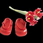 Vintage Original Ginny Doll Shoes RARE Sandals plus Flowers Muffie Ginger Virga