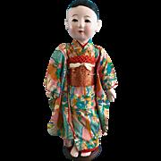 "Vintage 1940's 20"" Japanese Gofun Ichimatsu Doll in Silk Kimono Glass eyes Japan - Red Tag Sale Item"