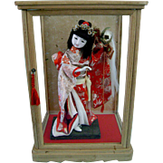 Vintage Japanese Gofun Ichimatsu Doll in Kimono in Case Japan