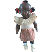 Vintage Black African American Composition Grumpy Pickaninny Doll in Original Clothes Dress & Oilcloth Shoes