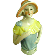 Vintage Antique Half Doll Pin Cushion Porcelain Art Deco Flapper German Figurine