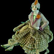 Vintage Antique Half Doll Pin Cushion Porcelain Art Deco Flapper German Figurine