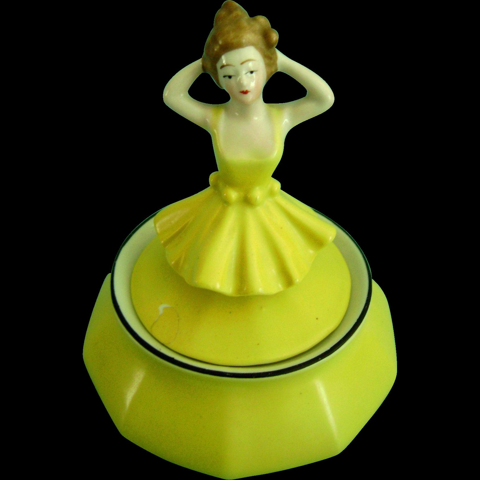 Vintage Antique Half Doll Pin Cushion Related Porcelain Powder Jar Bottle German