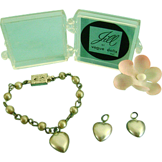 Vintage NMIB Vogue Ginny Family, Jill Bride Doll Jewelry Pearl Necklace,Earrings
