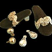 Vintage Original Vogue Ginny Family Jill & Jan Doll Shoes, Jewelry Earrings