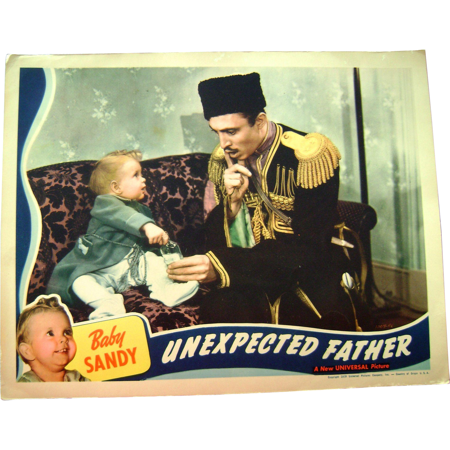 Vintage 1939 Baby Sandy Movie Theater Lobby Card Unexpected Father Mischa Auer