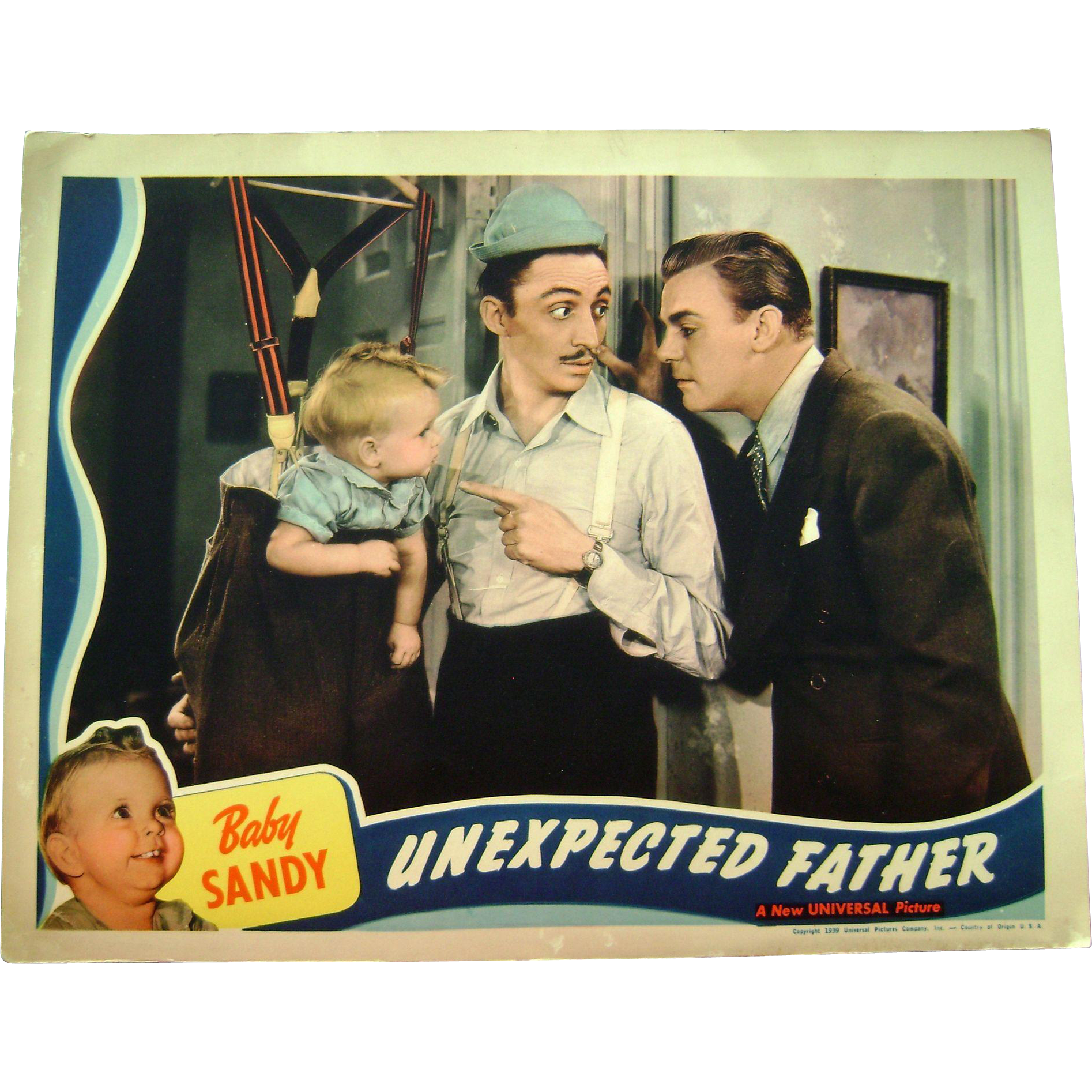 Vintage 1939 Baby Sandy Movie Theater Lobby Card Unexpected Father Dennis OKeefe