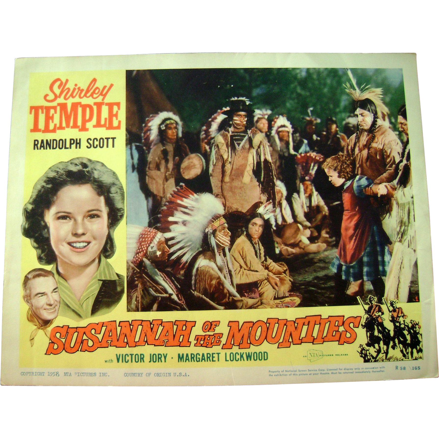 Vintage 1939 Shirley Temple Movie Theater Lobby Card Susannah of the Mounties