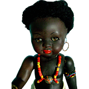 Vintage African Africa Black Native Doll in Original Clothes, Jewelry