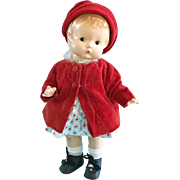 Vintage Effanbee Composition Patsy Doll wearing vintage Clothes Coat Hat Shoes