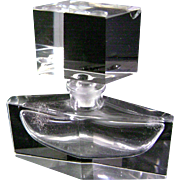 Vintage Antique Art Deco Crystal Perfume Bottle with ground glass stopper dabber