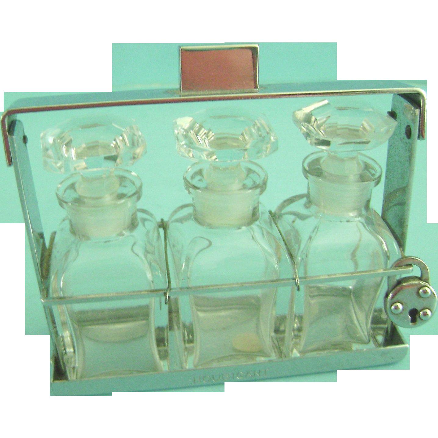 Vintage Antique Houbigant France Crystal Glass Perfume Bottle Set Art Deco