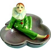 Vintage Half Doll Related Art Deco Pierrot Candy Bridge Dish Porcelain Figurine