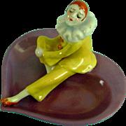 Vintage Half Doll Related Art Deco Pierrot Candy Bridge Dish Porcelain Figurine