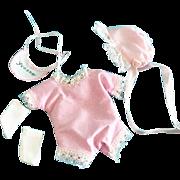 Doll Clothes Romper & Bonnet made for vintage Madame Alexander Dionne Quintuplet