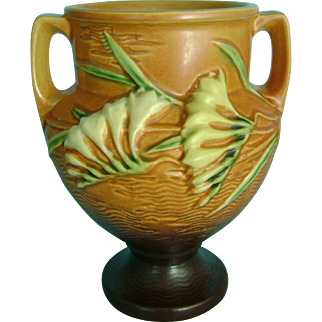 Vintage Roseville Pottery Burnt Orange Tangerine Brown Freesia Vase