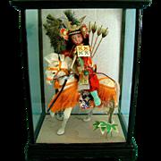 Vintage Japanese Gofun Ichimatsu Samurai Doll on Horse in Case Japan