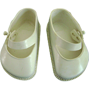 "Vintage 1950's White Doll Shoes for Ideal Toni P94 & 22"" Saucy Walker"