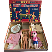 Vintage 1920s Transogram Gold Medal Sewing Kit Set Two Dolls Bisque, Composition