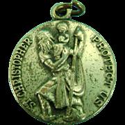 Vintage Sterling Silver Catholic St Christopher Medal Charm Bracelet Pendant