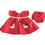 Scottie Dog Dress made for Vintage 16 inch Composition Shirley Temple Doll